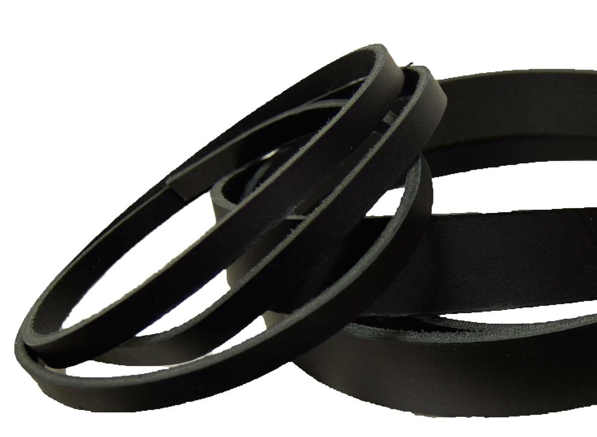 Lederriemen Schwarz 4,0 x 100,0 cm lang Leder-Gürtel Befestigungsriemen Kleidung